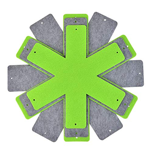 Pot and Pan Dividers Protectors Set of 8 and 4 Different Size 16in, 15in, 14in, 12in, Pot Separator Pads for Stacking and Protecting Cookware (Green+Grey)