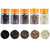 2500PCS Hair Extensions Beads, Dansee Silicone Micro Link Rings 5mm Lined Beads for I Tip Human Hair Extensions (Black/Light Brown/Dark Brown/Blonde/Dark Blonde)