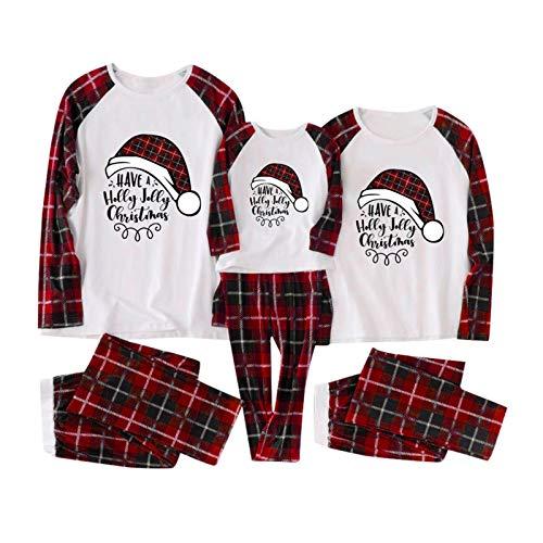 Yumso Noël Parent-Enfant Ensemble Pyjama Famille Femme Homme Enfant Noël Imprimé Parent-Enfant Pyjamas Père Noël Manches Longues Top et Treillis Pantalon Vêtement de Nuit