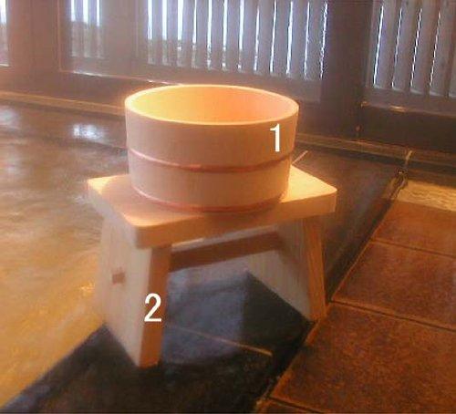 木曽ひのき 風呂椅子・風呂桶セット
