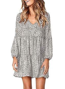 Eytino Women Summer V-Neck Long Sleeve Ruffle Swing Shift Dress Plain T Shirt Dresses,X-Large White