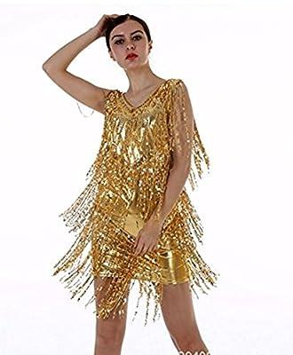 FANTASIEN 2017 Girl Women's V Neck Backless Vintage 1920s Sequins Tassels Flapper Dress Party Cocktail Dress Fringe Sparkle Dress-Fress Size Fit For S-XXL