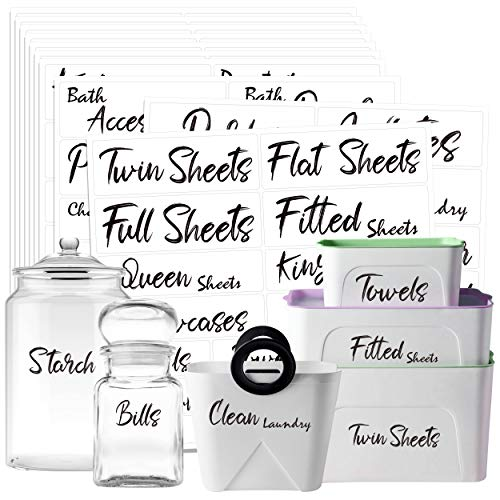 242 PCS Home Office Organization Labels Printed Customizable Water Resistant Stickers with Perforation Line in Various Sizes for Bathroom Living Room Laundry Closet Farmhouse Jars Containers Bins