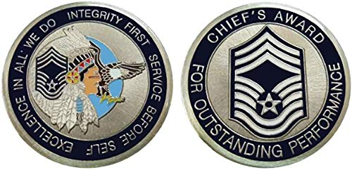 """Air Force Enlisted Ranks - Chief Master Sergeant """"E9'' Challenge Coin/Logo Poker/Lucky Chip"""