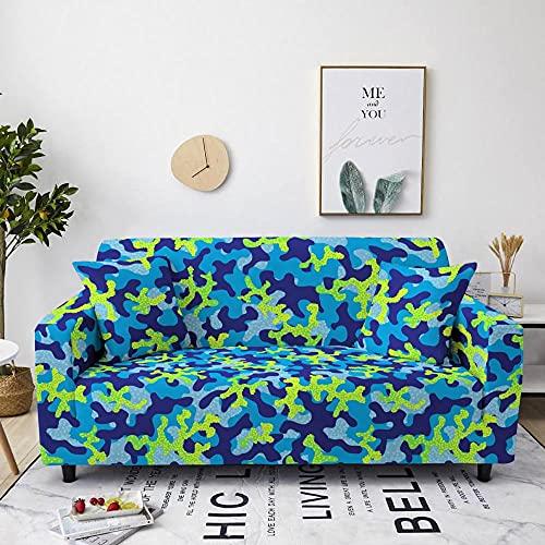 Fundas Decorativas para Sofás Impreso Azul Antideslizante Funda Protectora para Sofá Poliéster Suave con Funda elástica con Funda de sofá 1 Plazas (90-140cm)