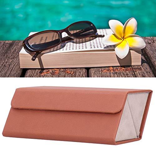 Diseño plegable Diseño colgante Sunglass Box pequeño y delicado caso de exhibición de gafas de sol Estuche de almacenamiento resistente y al aire libre para la habitación del hogar (marrón)