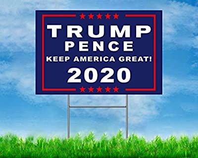 GAGEC 18 x 12 Inches President Donald Trump Pence Double Sided Print Yard Signs 2020 Lawn Signage with H-Frames Outdoor Decor YS-KAG