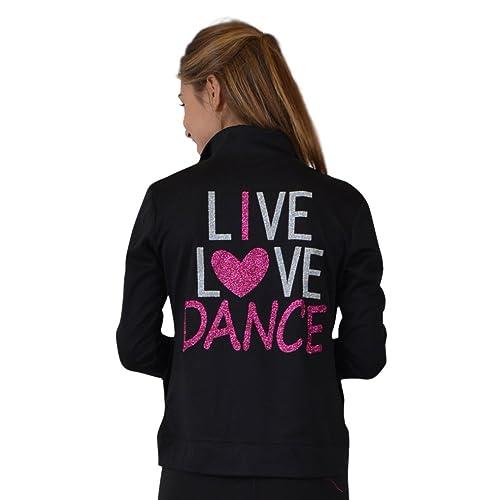 Stretch is Comfort Girls Glitter Dance Warm Up Black Jacket