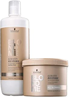 Schwarzkopf Professional BlondMe All Blondes Keratin Restore Bonding Shampoo 1 Liter, With 16.9oz Mask, DUO!