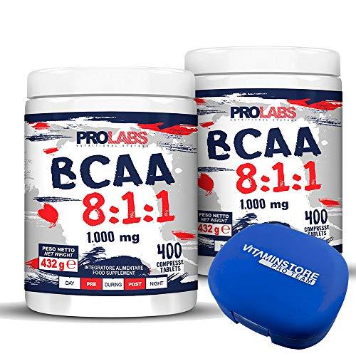 BCAA 8:1:1 Prolabs + Vit B1 + Vit B6 + Portapillole Vitaminstore ● 800 Compresse (2x400cpr) ● Integratore alimentare di Aminoacidi a Catena Ramificata