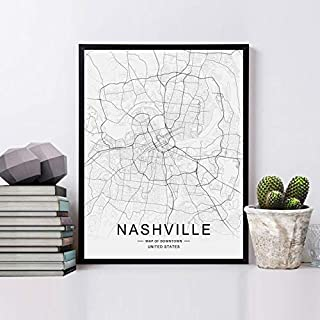 Nashville Street Map Art Print Black and White Road Map City Downtown Wall Art Nashville Map Wall Hanging Office Decor No Frame