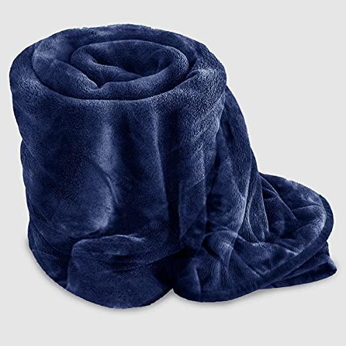 GonZalo GraCia. Cosy Winter Warm Faux Fur Mink Sofa Bed Throw Fleece Blanket Bed Blanket Giant Blanket sofa throw 3 seater (Navy, King 200x240 cm)