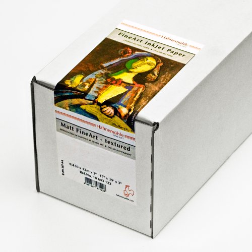 Hahnemühle 10643114 Digital FineArt Torchon Papier, 285 g/m², 17 Zoll Rolle, 432 mm x 12 m, hellweiß