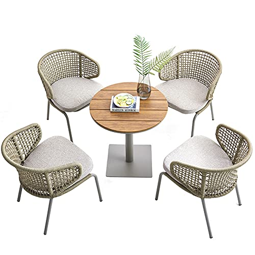 Aimir Outdoor Patio Furniture Sets, 5-Piece All-Weather Braided Rope Chair and Coffee Table Combination Sets Home Garden Patio Leisure Party Conversation Set