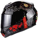 Unisex jinete casco de cubierta completa, anti-niebla de doble lente de casco de motocicleta completa lavable casco de seguridad extraíble colisión, el vehículo ECE / DOT-Chopper terreno al aire libre