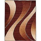 Alfombra Salon Grande Pelo Corto - Moderno Diseño Geométrico - Alfombra Cocina Habitación Dormitorio Comedor marrón 140 x 200 cm