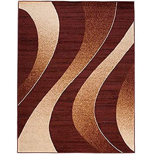 Alfombra Salon Grande Pelo Corto - Moderno Diseño Geométrico - Alfombra Cocina Habitación Dormitorio Comedor marrón 160 x 220 cm