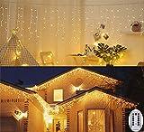3M Cortina de luz Outddor Icicle Lights PILES Luces de Navidad con control remoto para decoración de fiesta, boda, balcón, ventana, pared, escaparate, boda, Navidad (blanco cálido)