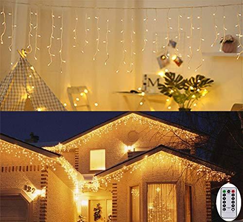 3M Außen Lichterkette Eisregen Lichtervorhang Batterienbetrieben Innen Lichterkette Garten für Zimmer Party Xmas Deko