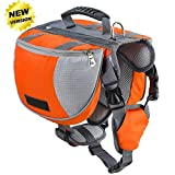 Made of high quality 600D double polyester material,durable and waterproof. Adjustable straps and a soft-mesh lined underside for a comfortable and custom fit. Space to store all of your dog's travel essentials such as food,treats,toys,first-aid supp...