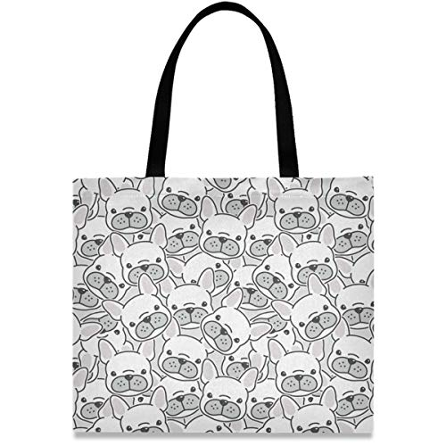 visesunny Women's Large Canvas Tote Shoulder Bag French Bulldog Puppy Face Animal Top Storage Handle Shopping Bag Casual Reusable Tote Bag for Beach,Travel,Groceries,Books