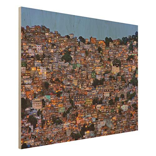 Bilderwelten Cuadro en Madera Ilustración Wall-Art - Rio De Janeiro Favela Sunset 60 x 80cm