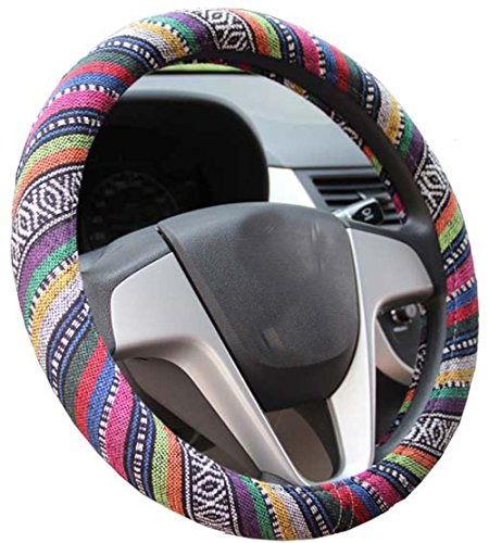 Istn Medium Ethnic Style Coarse Flax Cloth Automotive Steering Wheel Cover Anti Slip and Sweat...