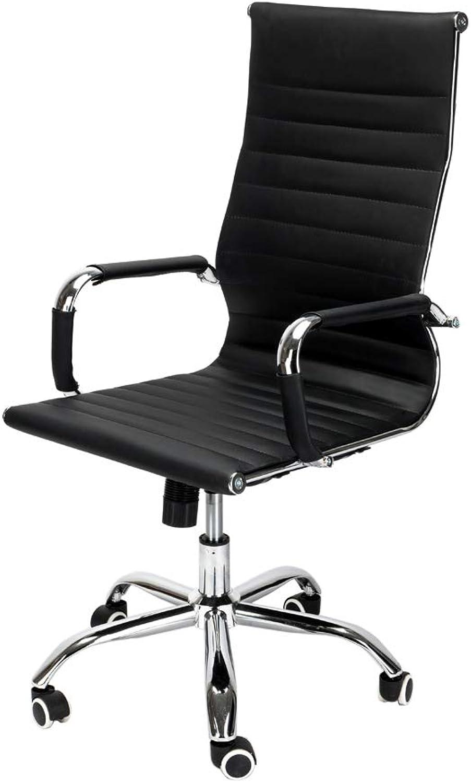 Kikole PU Leather High Back Swivel Chair Black