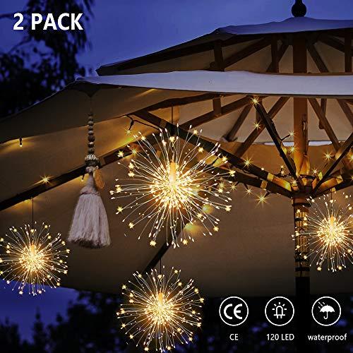 MMTX Feuerwerk LED Lichterketten, Starburst Lichter Kupferdraht Lichterkette IP65 Wasserdicht Starburst Lichter mit Fernbedienung für Garten Terrasse Hochzeit Party Weihnachten (Warmweiß, 2er Pack)