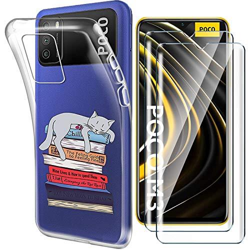 """HYMY Cover per Xiaomi Poco M3 (6.53"""") + 2X Pellicola Protettiva - Morbida Trasparente Silicone Bumper Case TPU Protettivo Copertura Custodia 9H Vetro temperato, XY23"""