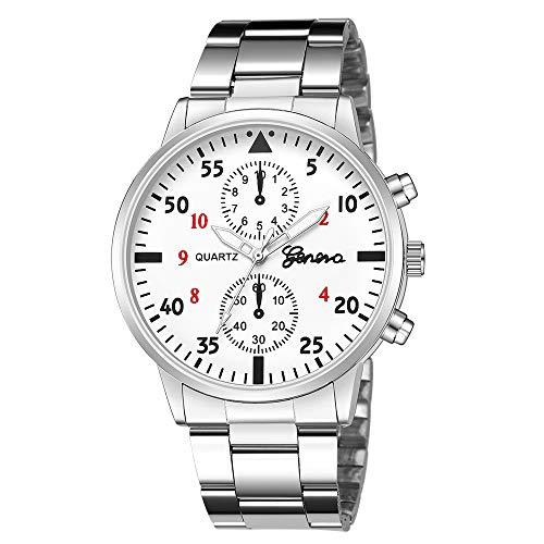 Herren Uhren Männer Sport Wasserdicht Chronograph Datum Kalender Luxus Armbanduhr Mode Kleid Multifunktion Stoppuhr Analog Quarz Uhr mit Schwarz Lederband 3832Silber
