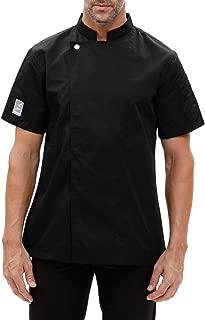 Chef Coat Jacket Works Short Sleeve Single-Breasted Men Black