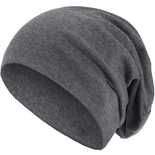 style3 Warme Herbst Winter Slouch Beanie XXL aus atmungsaktivem, feinem und leichten Jersey Unisex Mütze Wintermütze One Size, Farbe:Grau