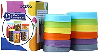 Aozita [12 Pack] Colored Plastic Mason Jar Lids for Ball, Kerr and More - 6 Regular Mouth & 6 Wide Mouth - Food-Grade Plas...