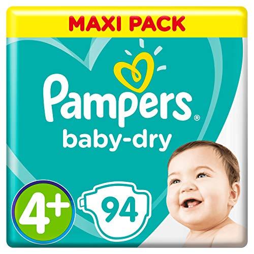 Pampers Baby-Dry Windeln, Gr. 4+, 10kg-15kg, Dreier-Pack (1 x 94 Windeln)
