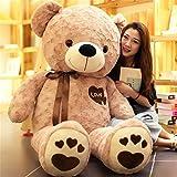 BEARS'HOMEぬいぐるみ くま クマ  熊 テディベア コストコ 抱き枕 クッション 誕生日プレゼント ピンク (ブラウン, 130cm)