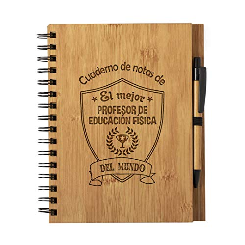 Cuaderno El Mejor profesor de educacion fisica del Mundo - Libreta de Madera Natural Tamaño A5 con Boligrafo - Regalo para Profesor gimnasia