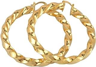 Hoop Earrings for Women African Round Twisted Earrings Gold Color Jewelry Gifts Dangle Earrings 6CM
