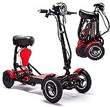 HLLL Scooter eléctrico de Movilidad Plegable, Silla de Ruedas eléctrica, Handicap Drive Medical Scout, motonetas portátiles de Viaje de 4 Ruedas para Adultos Mayores,Rojo,36V10AH/25km