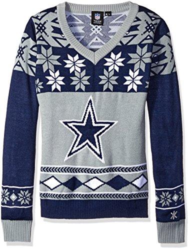 FOCO Dallas Cowboys Damen Pullover mit großem Logo, V-Ausschnitt, Größe S