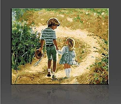UPUPUPUP Kinder Wandbilder Malen Nach Zahlen DIY Handgemalte Leinwand Kunst Kit Für Zuhause Geschenk Für Kinder Bilder Malen Nach Zahlen, 50X70Cm Gerahmt