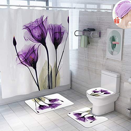 Enhome Badteppich Set 4teilig, Badezimmermatten Set mit Duschvorhang + rutschfeste U-Sockelteppich, Toilettenabdeung und Badematte Blumenkunst Muster (Lila Blume)