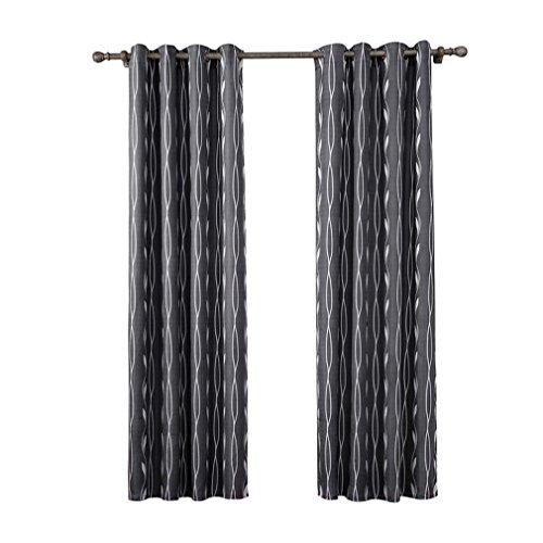 Deconovo Double Layer Window Treatment Oxford with Silver Lining Light Reflecting Ring Top Curtains Thermal Insulated Blackout Curtains for Boys Bedroom Black 46x54 Inch 2 Panels