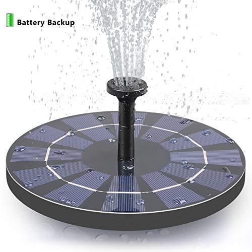 FEELLE Solar Fountain with Battery Backup, 2.5W Free Standing Solar Bird Bath Fountain Water Pump for Birdbath, Pond, Pool, Garden