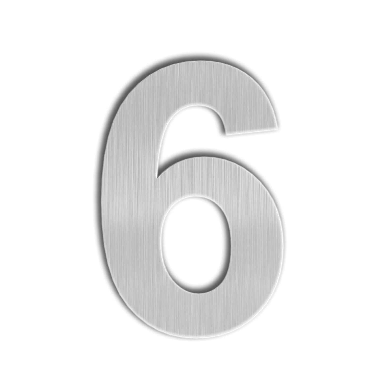 QT Modern House Number - 6 Inch, Brushed Stainless Steel (Number 6/9 Six/Nine), Floating Appearance, Easy to Install and Made of Solid 304 Stainless Steel
