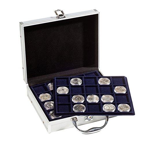 Star Collect (700042 Münzkoffer - inkl. 6 Tableaus für 120 Münzen (10€/20€/25€ Münzen) – abschließbar - Velour Schwarz