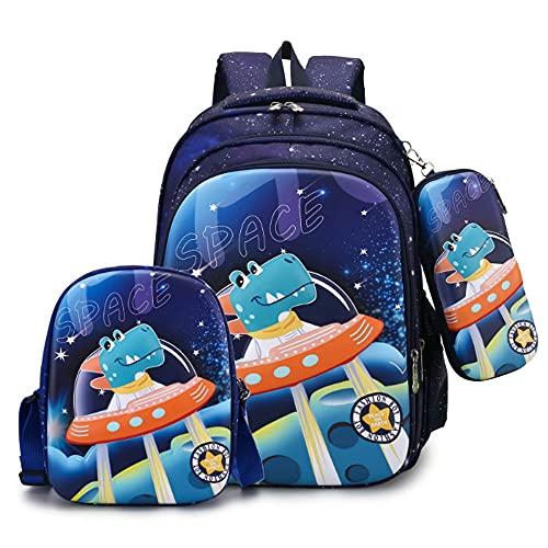 Mochila 3 en 1 con diseño de unicornio en 3D para niñas con bolsa de almuerzo, estuche de lápices de dibujos animados cómic impermeable