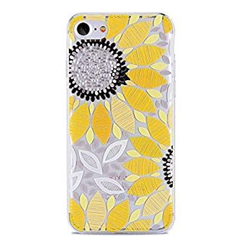 iPhone 4S Case,iPhone 4 Clear Case,PHEZEN Beautiful Flower Pattern Clear Bumper Case Soft TPU Rubber Silicone Skin Transparent Case Cover for iPhone 4/4S  Yellow Sunflower