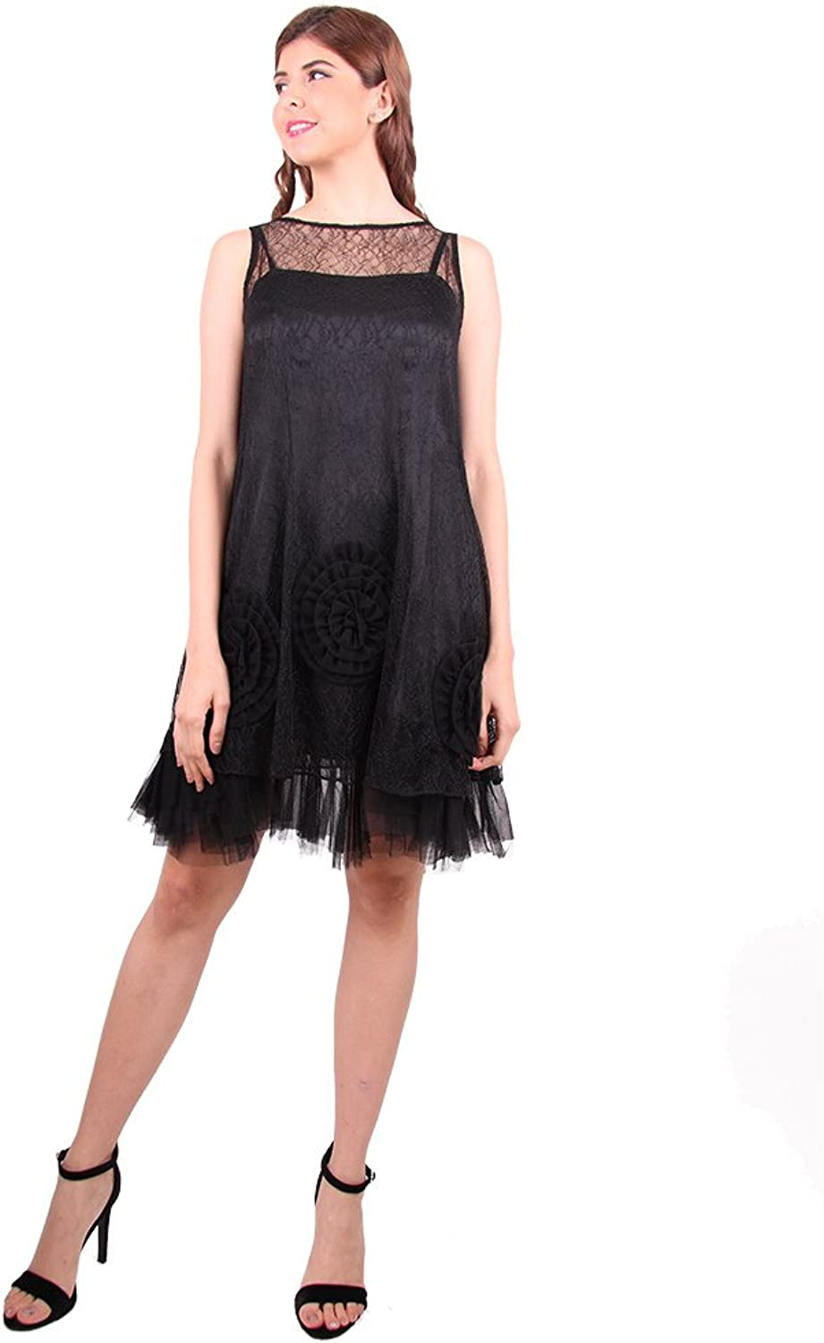DEMODA FASHION Women' Lace Pleated Mesh Dress for Prom and Wedding Party.