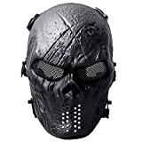 Fansport Paintball Maske, Airsoft Masken Ghost Skull Softair Maske Mesh-Maske Airsoft Taktische...